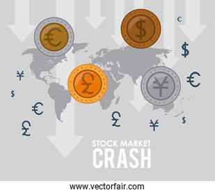 stock market crash with coins and earth maps