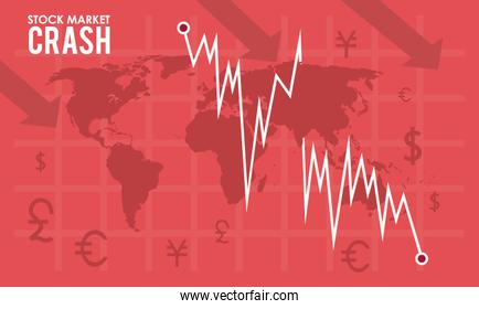 stock market crash with earth maps and infographic