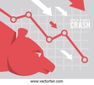 stock market crash with arrows down and bear