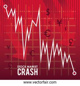 stock market crash with arrows down