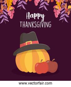happy thanksgiving day apples and pumpkin with pilgrim hat
