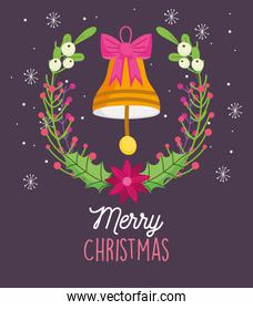 merry christmas celebration bell with bow wreath flower snow