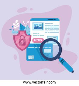 payment online technology with credit card and magnifying glass