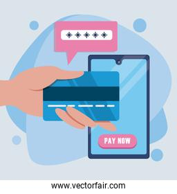 payment online technology with smartphone and credit card