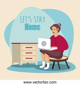 lets stay at home scene with woman working in laptop