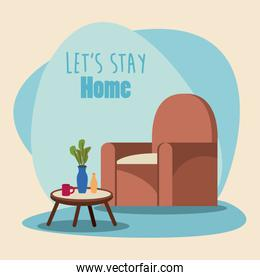 lets stay at home scene with livingroom