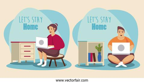 lets stay at home scene with couple working in laptop