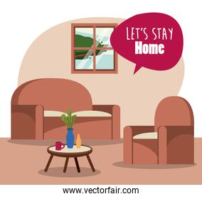 lets stay at home scene with livingroom and speech bubble