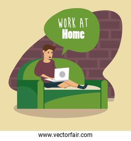 man using laptop work at home