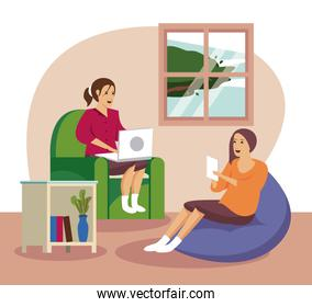 women using technology for work at home