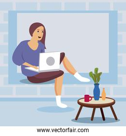 woman using laptop work at home