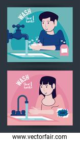 wash your hands campaign poster with couple and water taps