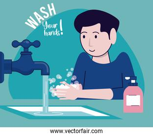 wash your hands campaign poster with man and tap