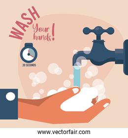 wash your hands campaign poster with water tap