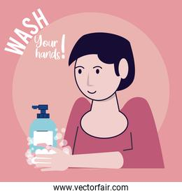 wash your hands campaign poster with woman soap bottle