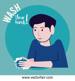wash your hands campaign poster with man and soap