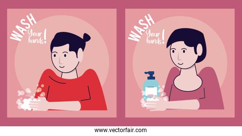wash your hands campaign poster with woman and soap