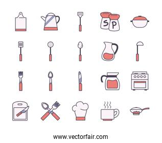 Isolated kitchen and cook line and fill style icon set vector design