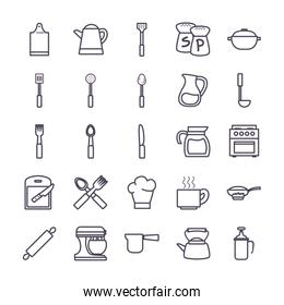 Isolated kitchen and cook gradient style icon set vector design