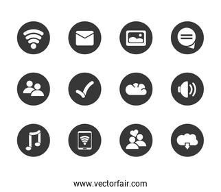 Social media block flat style icon set vector design