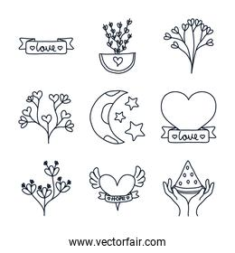 leaves and minimalist tattoo icon set, line style