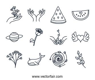 delicate hands and minimalist tattoo concept icon set, line style