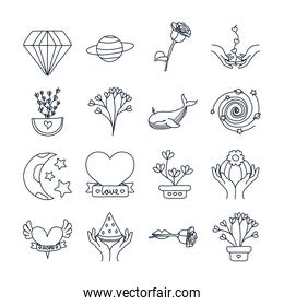 diamond and minimalist tattoo icon set, line style