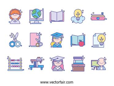 back to school education learn icons set