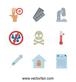 microscope and covid 19 concept icon set, line style