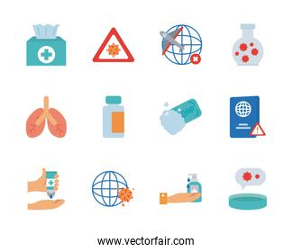 lungs and covid 19 concept icon set, flat style