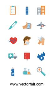 cardio heart and covid 19 concept icon set, flat style