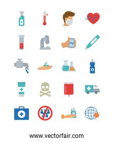 ambulance and covid 19 concept icon set, flat style
