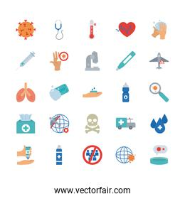 global sphere and covid 19 concept icon set, flat style