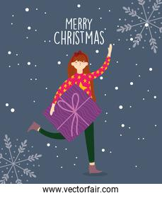 merry christmas woman with sweater and gift box snowflakes