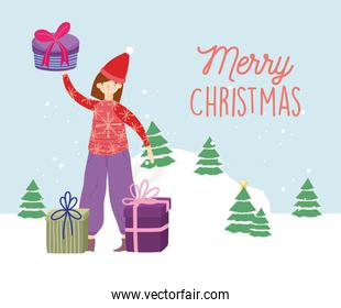 merry christmas woman with ugly sweater gifts trees snow celebration