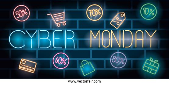cyber monday lettering neon label and icons