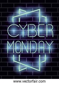 cyber monday lettering neon label
