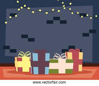 happy mery christmas house place with gifts and lights scene