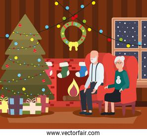 grandparents couple celebrating christmas in livingroom with tree