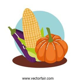 hello autumn season vegetables icons