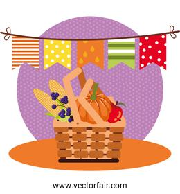 hello autumn season basket with fruits and vegetables