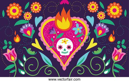 dia de los muertos card with heart skull and floral decoration