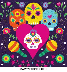 dia de los muertos card with flowers and skulls