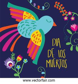 dia de los muertos card lettering with bird and flowers