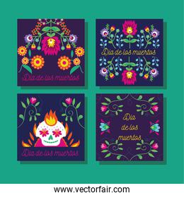 dia de los muertos cards with skulls and flowers