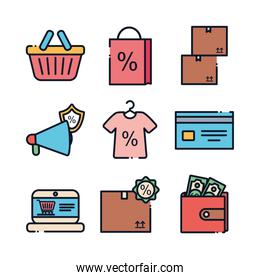 sale and shopping line fill style icon set vector design