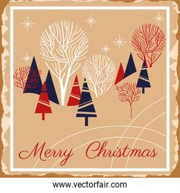 happy merry christmas card with snowscape scene