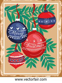 happy merry christmas card with leafs and balls hanging