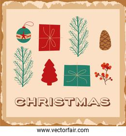 happy merry christmas card with set icons