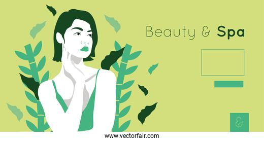 beauty and spa card with woman and leafs plant